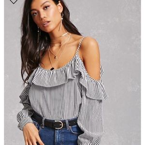 Tops - Forever 21 Cold Shoulder Ruffle Top